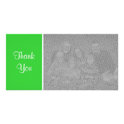 Plain Color - Thank You - Spring Green Customized Photo Card