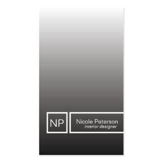 plain elegant black silver monogram pack of standard business cards