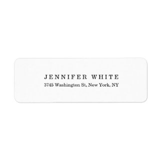 Plain Elegant Classical Black White Minimalist Return Address Label