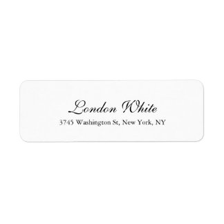 Plain Elegant Handwriting Classical Black White Return Address Label