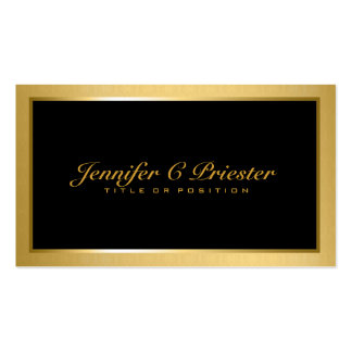 Plain Elegant Metallic Gold And Black Pack Of Standard Business Cards