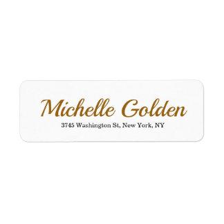 Plain Elegant Minimalist Golden Brown White Retro Return Address Label