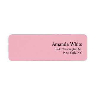 Plain Elegant Minimalist Modern Feminine Pale Pink Return Address Label