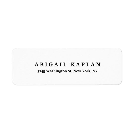 Plain Elegant Modern Black White Minimalist Style Return Address Label