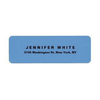 Plain Elegant Modern Blue Grey Minimalist Return Address Label