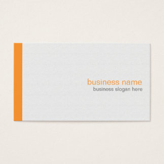 Plain Elegant Modern Simple Orange Stripe on White Business Card