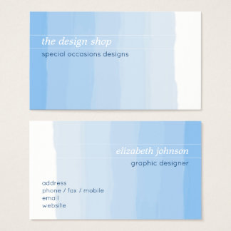 Plain Elegant Simple Blue Watercolor Pastel Business Card