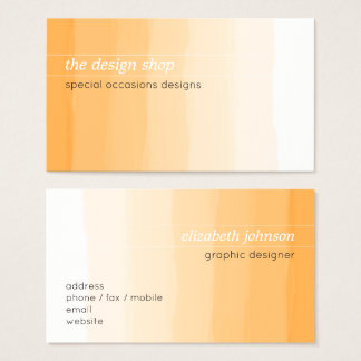 Plain Elegant Simple Orange Watercolor Pastel Business Card