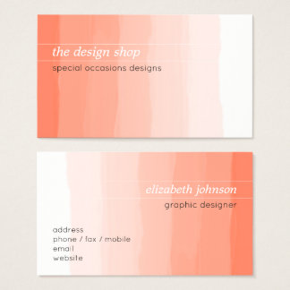 Plain Elegant Simple Peach Watercolor Pastel Business Card