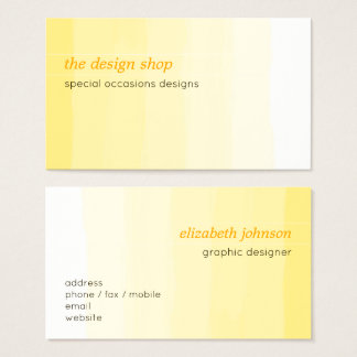 Plain Elegant Simple Yellow Watercolor Pastel Business Card