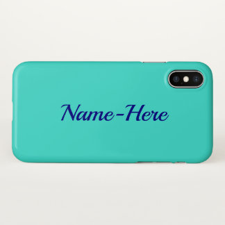 Plain, Elegant, Turquoise Background & Blue Name iPhone X Case