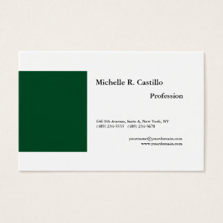 Plain Forest Green White Minimalist Modern Style Business Card
