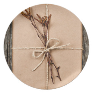 Plain gift with natural decorations plate