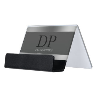 Plain Gray Background And Silver Stripes Desk Business Card Holder