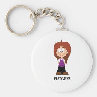 plain jane brunnette basic round button key ring