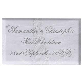 Plain laced white wedding dress wedding table number holder