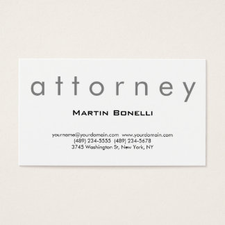 Plain Modern Attorney at Law Business Card