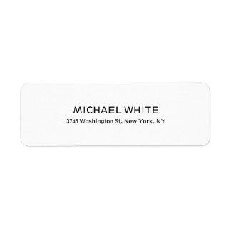 Plain Modern Black White Minimalist Legible Return Address Label