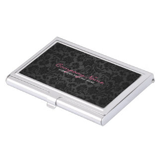 Plain Monochromatic & Black Vintage Floral Damasks Business Card Holder