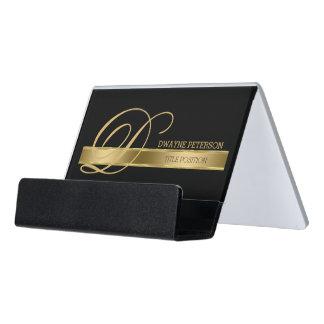 Plain Monochromatic Black With Gold Stripe Desk Business Card Holder