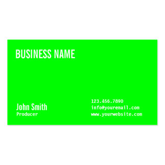 Plain Neon Green Producer Business Card