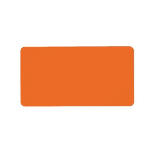 Plain orange background solid colour blank address label