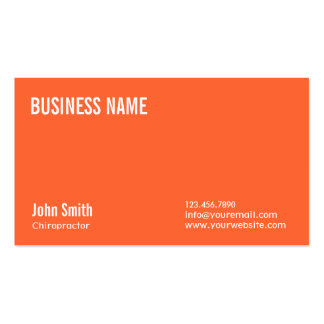 Plain Orange Chiropractor Business Card