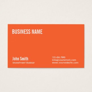 Plain Orange Investment Banker Business Card