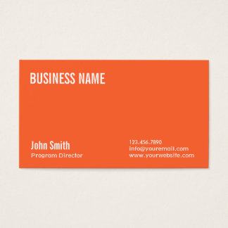 Plain Orange Program Director Business Card