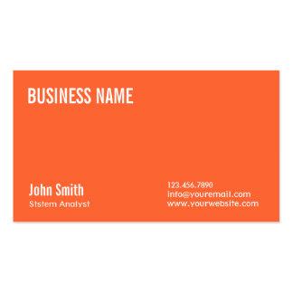 Plain Orange System Analyst Business Card