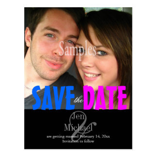 Plain, pink + blue Save the Date Photo postcards,