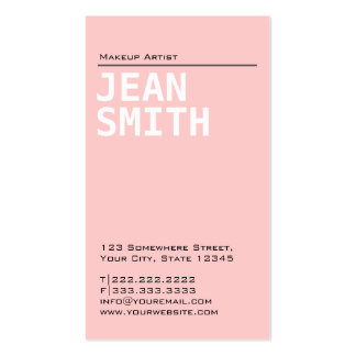 Plain Pink Make-up Artist Business Card