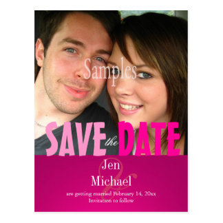 Plain, Pink Save the Date Photo/DIY fonts Postcard