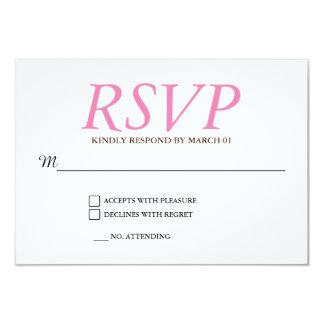 Plain Pink White Wedding RSVP Response Reply Card