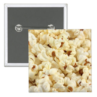 Plain popcorn close up. 15 cm square badge