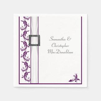 Plain purple and white lace traditional wedding paper serviettes