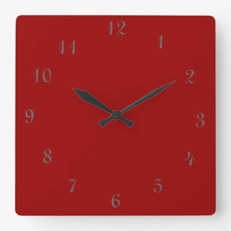 Plain Red Clock>Square Clocks with Numbers