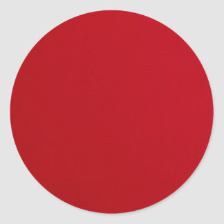 Plain Red Color Classic Round Sticker
