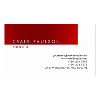 Plain Red White Professional Business Card
