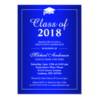 Plain Royal Blue Class Of 2017 Graduation Party 13 Cm X 18 Cm Invitation Card