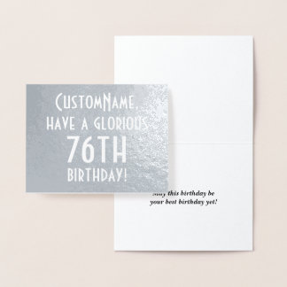 Plain Silver Foil 76th Birthday Greeting Card