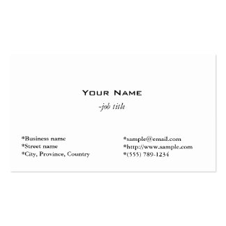 plain, simple and cool  white profile card pack of standard business cards