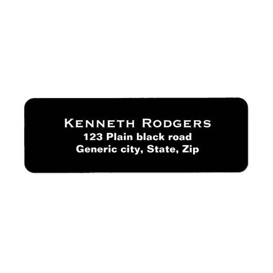 Plain simple black background white text custom return address label