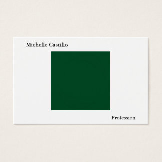Plain Simple Forest Green White Minimalist Modern Business Card