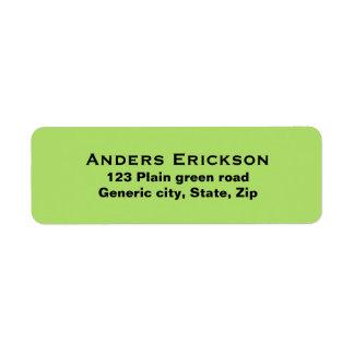 Plain simple green background black text custom return address label