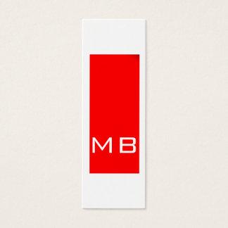 Plain Simple Monogram Skinny Red Business Card