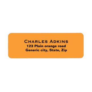 Plain simple orange background black text custom return address label