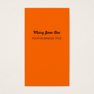 Plain & Simple Orange Vertical Business Card