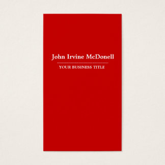 Plain & Simple RED Vertical Business Card