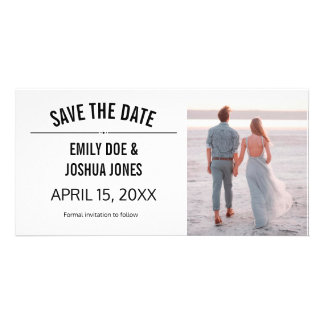 plain simple save the date wedding custom template customised photo card